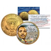 MARTIN LUTHER KING JR. 24K Gold Plated JFK Kennedy Half Dollar US Coin NOBEL PEACE PRIZE
