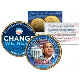 "BARACK OBAMA "" Change We Need "" 24K Gold Plated JFK Kennedy Half Dollar US Colorized Coin"