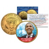 BARACK OBAMA - 44th President - 24K Gold Plated JFK Kennedy Half Dollar US Colorized Coin