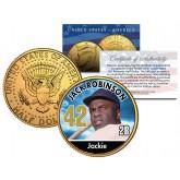 JACKIE ROBINSON Baseball Legends JFK Kennedy Half Dollar 24K Gold Plated US Coin