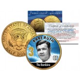 BABE RUTH Baseball Legends JFK Kennedy Half Dollar 24K Gold Plated US Coin