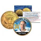 NOLAN RYAN Baseball Legends JFK Kennedy Half Dollar 24K Gold Plated US Coin
