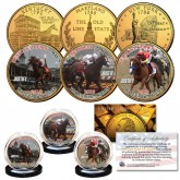 JUSTIFY Triple Crown Winner Thoroughbred Horse Racing 24K Gold Plated 3-Coin Statehood Quarter Set