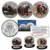 JUSTIFY Triple Crown Winner Thoroughbred Horse Racing JFK Kennedy Half Dollar U.S. 3-Coin Set