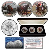 JUSTIFY Triple Crown Winner Thoroughbred Horse Racing JFK Kennedy Half Dollar U.S. 3-Coin Set with Display Box