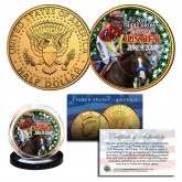 JUSTIFY 2018 TRIPLE CROWN WINNER Thoroughbred Racehorse 24K Gold Plated JFK Half Dollar U.S. Coin