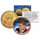 PRESIDENTIAL $1 JOHN F KENNEDY Design on Colorized 2015 JFK Half Dollar U.S. Coin 24K Gold Plated