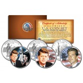 JOHN F KENNEDY Colorized Statehood Quarters US 3-Coin Set with JOHN JUNIOR & JACQUELINE