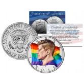RAINBOW FLAG Colorized 2015 JFK Half Dollar U.S. Coin GAY PRIDE Lesbian LGBT Love
