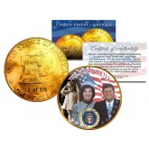 1976 KENNEDY FAMILY 24K Gold Plated IKE Dollar - Each Coin Serial Numbered of 376 - Officially Licensed