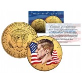 Colorized - FLOWING FLAG - 2015 JFK Kennedy Half Dollar US Coin P Mint - 24K Gold Plated