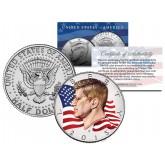 Colorized - FLOWING FLAG - 2015 JFK John F Kennedy Half Dollar U.S. Coin P Mint