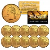 2001 Kentucky State Quarters U.S. Mint BU Coins 24K GOLD PLATED (Quantity 10)