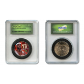 LEBRON JAMES Signature NBA Draft Pick Colorized JFK Kennedy Half Dollar U.S. Coin in Slabbed Serial Numbered Holder