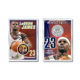 LEBRON JAMES Official Colorized JFK Kennedy Half Dollar U.S. Coin ROOKIE YEAR and First Year Signature Displayed with 4x6 Display Card