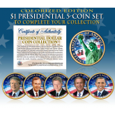 2016 Presidential $1 Dollar Fully Colorized 2-Sided * 5-Coin Complete Set * Living President Series - Carter, HW Bush, Clinton, Bush, Obama