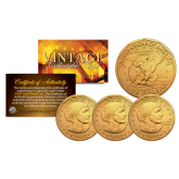 Susan B. Anthony U.S. Dollar Coins 24K GOLD Plated with Coin Capsules and COA * Lot of 3 *