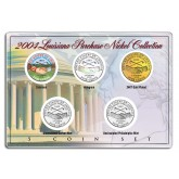 2004 LOUISIANA PURCHASE NICKEL Westward Journey 5-Coin US Set - P&D - Hologram - Colorized - 24K Gold Plated