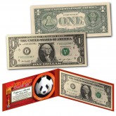 Chinese Panda Lucky Money Double 88 Serial Number U.S. $1 Bill with Red Folio
