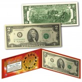 Chinese Zodiac Lucky Money Double 88 Serial Number U.S. $2 Bill with Red Folio
