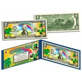 LEPRECHAUN - Four Leaf Clover - Colorized U.S. $2 LUCKY BILL - St Patrick's Day