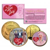 I LOVE LUCY - Lucille Ball - NY Quarter & JFK Half Dollar US 2-Coin Set 24K Gold Plated - Officially Licensed