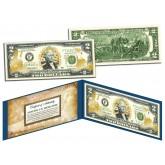 United States MARINES $2 Bill U.S. Genuine Legal Tender - GOLD LEAF Laser Line - MILITARY