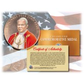 Colorized POPE JOHN PAUL II - Commemorative Medal - Bronze Coin U.S. Congressional