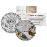 MICHELANGELO - The Creation of Adam - SISTINE CHAPEL - Colorized JFK Half Dollar U.S. Coin