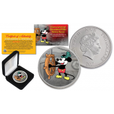 2017 New Zealand Mint Niue 1 oz Pure Silver Colorized Mickey Mouse Disney Steamboat Willie BU Coin (Limited 500)