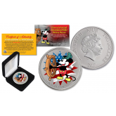 2017 New Zealand Mint Niue 1 oz Pure Silver Colorized Americana Mickey Mouse Disney Steamboat Willie BU Coin (Limited 500)
