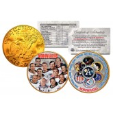 MOONWALKERS - Apollo NASA Astronauts - IKE Dollars U.S. 2-Coin Set 24K Gold Plated - SPACE