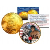 1976 MUHAMMAD ALI 24K Gold Plated IKE Dollar - Each Coin Serial Numbered of 376 - Officially Licensed