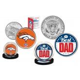 Best Dad - DENVER BRONCOS 2-Coin Set U.S. Quarter & JFK Half Dollar - NFL Officially Licensed
