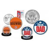Best Dad - CLEVELAND BROWNS 2-Coin Set U.S. Quarter & JFK Half Dollar - NFL Officially Licensed