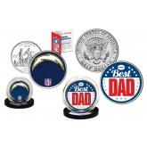 Best Dad - SAN DIEGO CHARGERS 2-Coin Set U.S. Quarter & JFK Half Dollar - NFL Officially Licensed