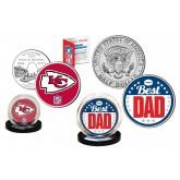 Best Dad - KANSAS CITY CHIEFS 2-Coin Set U.S. Quarter & JFK Half Dollar - NFL Officially Licensed