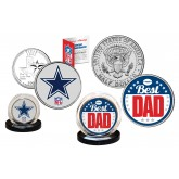 Best Dad -  DALLAS COWBOYS 2-Coin Set U.S. Quarter & JFK Half Dollar - NFL Officially Licensed