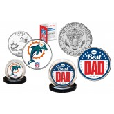 Best Dad -  MIAMI DOLPHINS 2-Coin Set U.S. Quarter & JFK Half Dollar - NFL Officially Licensed