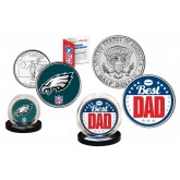Best Dad - PHILADELPHIA EAGLES 2-Coin Set U.S. Quarter & JFK Half Dollar - NFL Officially Licensed
