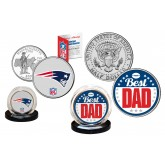 Best Dad - NEW ENGLAND PATRIOTS 2-Coin Set U.S. Quarter & JFK Half Dollar - NFL Officially Licensed