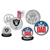 Best Dad - OAKLAND RAIDERS 2-Coin Set U.S. Quarter & JFK Half Dollar - NFL Officially Licensed