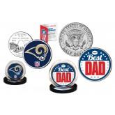 Best Dad -  ST LOUIS RAMS 2-Coin Set U.S. Quarter & JFK Half Dollar - NFL Officially Licensed