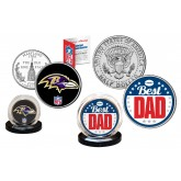 Best Dad - BALTIMORE RAVENS 2-Coin Set U.S. Quarter & JFK Half Dollar - NFL Officially Licensed