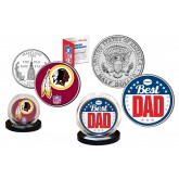 Best Dad - WASHINGTON REDSKINS 2-Coin Set U.S. Quarter & JFK Half Dollar - NFL Officially Licensed