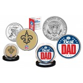 Best Dad - NEW ORLEANS SAINTS 2-Coin Set U.S. Quarter & JFK Half Dollar - NFL Officially Licensed