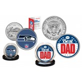 Best Dad - SEATTLE SEAHAWKS 2-Coin Set U.S. Quarter & JFK Half Dollar - NFL Officially Licensed