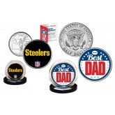 Best Dad - PITTSBURGH STEELERS 2-Coin Set U.S. Quarter & JFK Half Dollar - NFL Officially Licensed
