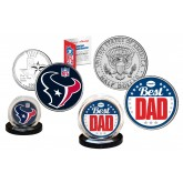 Best Dad - HOUSTON TEXANS 2-Coin Set U.S. Quarter & JFK Half Dollar - NFL Officially Licensed