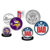 Best Dad - MINNESOTA VIKINGS 2-Coin Set U.S. Quarter & JFK Half Dollar - NFL Officially Licensed